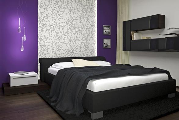 Ložnice je vybavena dýhovaným nábytkem německé značky Hülsta. Čelo postele designér zvýraznil dekorativní tapetou, která je poobvodě osvětlena integrovanými bodovými světly azářivkami.