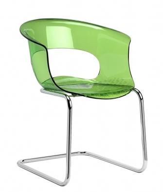 Stohovatelná židle Miss B1, chromové podnoží, sedák zrecyklovaného akrylu, cena 3277Kč  (DOPÁRU.CZ).