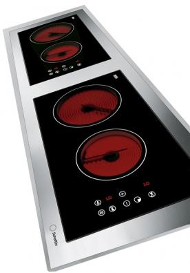 Sklokeramická varná deska B 20L 2VTC je plně zapuštěna dopracovní desky, rozměry 116 x 36cm, 2 varné zóny svýkonem 1700 W, 2 varné zóny svýkonem 1200 W, dvojí samostatné dotykové ovládání, cena 39990Kč (SCHOLTÈS).