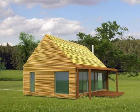 Vizualizace: Dům je založen nad úrovní terénu na zemních vrutech.