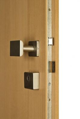 Dřevěné bezpečnostní dveře 2. bezp. třídy svícebodovým zámkem (SAPELI).