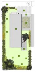 Půdorys zahrady: 1)solitéra – vícekmenná zmarlika, 2)volně rostoucí keře, 3)vstupní prostor / vjezd, 4)garáž, 5)extenzivní střešní ozelenění, 6)dům, 7)extenzivní střešní ozelenění, 8)posezení pod okrasnou jabloní, 9)solitéra – vícekmenná magnolie, 10)pobytový trávník, 11)pohledová clona ze stálezelených keřů, 12)výsadba trvalek aokrasných trav.