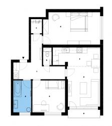 Půdorys bytu po rekonstrukci: 1)předsíň 2)obývací pokoj 3)kuchyň 4)pokoj 5)ložnice 6)koupelna 7)šatna 8)WC 9)balkon.