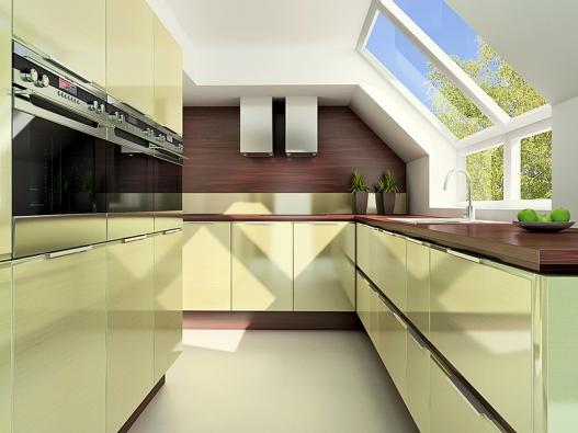 Moderní liniová kuchyně vprovedení papyrus žlutý se proměňuje sdopadajícím světlem. Tato vlastnost je typická pro všechny dekory řady Trendy exclusive (trachea).