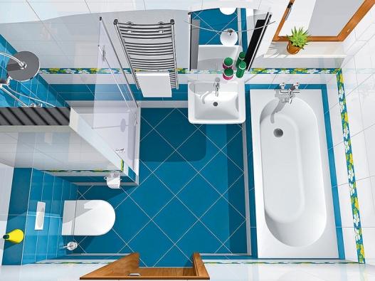 Obklad koupelny je vybrán zkolekce Felicity (VILLEROY &BOCH), dlažba stojí 1273 Kč/m², bílý obklad 724 Kč/m², barevný obklad 838Kč/m². Sprchový kout tvoří jednoduchá vanička zapuštěná do podlahy ačiré skleněné dveře.
