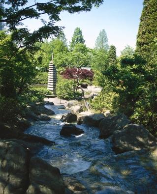 Ivtypických nepravidelných úpravách, jako jsou zahrady Dálného východu, se uplatňuje princip pohledových os. Přes potok se díváte na kamennou pagodu.