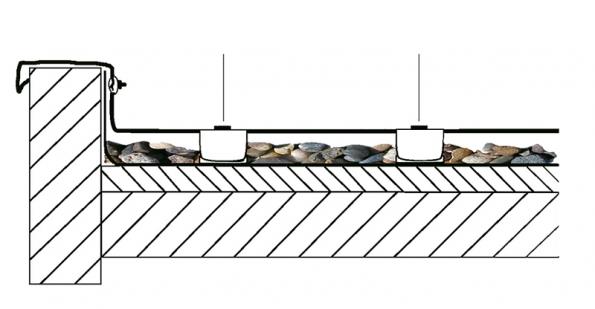 Ochrana ploché střechy se řeší vodorovnými svody, které jsou sroztečí jednoho metru posíleny ještě kolmými jímacími tyčemi.