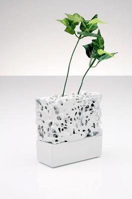 Květináč pro hydroponické pěstování rostlin, porcelán, školní zadání.