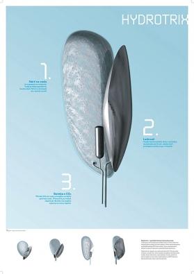 """Hydrotrix, koncept domácího spotřebiče budoucnosti, 3 nádoby, nádrž s filtrem na vodu, """"ledovač"""" ve formě mraku, školní zadání."""
