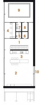 Půdorys přízemí: 1) hala 2) obývací pokoj 3) kuchyň 4) pracovna 5) WC 6) komora 7) sprcha + WC 8) sauna 9) bazén 10) terasa.