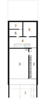 Půdorys siterénu: 1) vjezdová rampa 2) předsíň 3) garáž 4) hala 5) sklep 6, 7) technické zázemí.