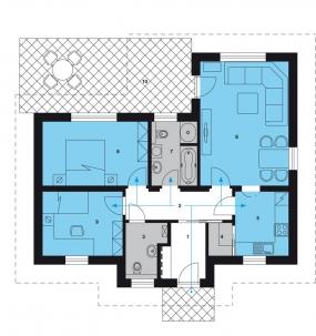 Půdorys přízemí: 1)předsíň 2)hala 3)WC 4)komora 5)kuchyň 6)obývací prostor 7)koupelna + WC 8)ložnice 9)pokoj 10)terasa.