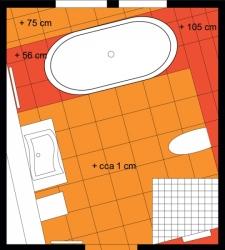Půdorys nového řešení podkrovní koupelny
