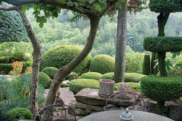 Klidná stinná terasa u domu nabízí výhledy do lesnatého údolí plného zvláštního provensálského světla.