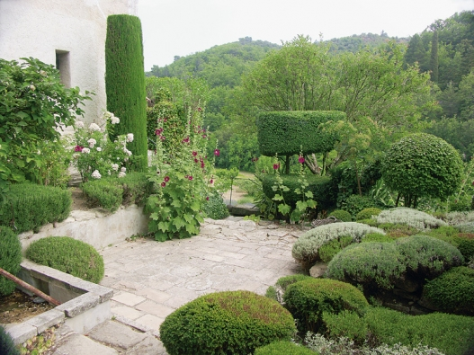 Tvarované dřeviny (topiary) pokračují i ve slunné části horní terasy na druhé straně domu: stříbřité keříky levandule a svantolíny ladí se světlou dlažbou.