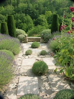 Osou zahrady je dlážděná cesta z místního kamene, lemovaná políčky stříbrné levandule. Čtyři levandulové keříky zdobí dlažbu, výhled rámují stříhané cypřiše. V dlažbě vybujela dvouletá červená topolovka – příští rok se přestěhuje zase jinam.