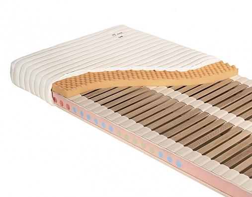 Ortopedická lamelová matrace Zora má tři podélně pružící nosníky z PUR pěny, její tuhost je možno regulovat v libovolných zónách vkládáním nebo vyjímáním pěnového jádra, na povrchu snímatelný povlak Microcare. V rozměru 240 x 120 cm ji pořídíte od 8 400 Kč (JELÍNEK).