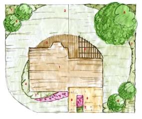 Půdorys pozemku: 1) dům 2) travnatá plocha 3) dřevěná terasa spergolou 4) koutek pro bylinky 5) trvalkový záhon 6) listnatý strom 7) keřová výsadba 8) vjezd 9) vstup.