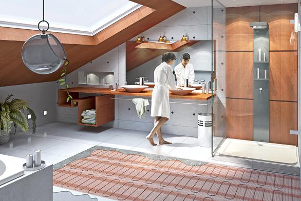 Tenké samolepicí topné rohože T2QuickNet zajistí pohodlnou instalaci iúsporu elektrické energie při vytápění koupelny (RAYCHEM).