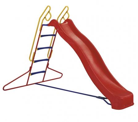 Skluzavka svlnou (d. kluzné plochy 280cm, v. nástupu 145cm) zkvalitního plastu. Žebřík spostranními držadly aprotiskluzovými stupačkami zaručuje spolu spatkami pro zabetonování stabilitu abezpečnost (nosnost 50kg). Zabetonovávat skluzavku ale není nutné, cena 6990Kč (KETTLER).