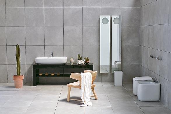 Koupelnová kolekce Mono. Umyvadlo o šířce 100cm stojí cca 15990Kč, bidet aWC 13990Kč (vyrábí FLAMINIA, dodává AQUA TRADE).