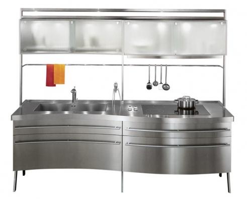 Sistema ES je nerezový kuchyňský modul, jehož cena se pohybuje od 100000 do 140000Kč za běžný metr, design Lucci Orlandini (vyrábí SNAIDERO, dodává KUCHYŇSKÉ STUDIO ANYX).
