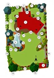 Pudorys zahrady: 1) dům 2) příjezdová cesta 3) obytná terasa z teakového dřeva 4) koupací jezírko, kamenná kaskáda, vodní rostliny 5) zahradní domek s posezením, venkovní krb, vířivá vana 6) skupina Picea omorika – smrk omorika či Pančičův 7) Crateagus leavigata ´Paul´s Scarlet´– hloh obecný Paulův 8) Pinus strobus – borovice vejmutovka 9) sušák na prádlo, případně dětské hřiště 10) skupina dřevin: Cedrus atlantica – cedr atlantský, Pinus sylvestris Watererii – borovice lesní, Cercidiphyllum japonicum – zmarličník japonský, Pinus sylvestris ´Fastigiata´– borovice lesní sloupovitý kultivar 11)Acer palmatum ´Dissectum´ – javor dlanitolistý stříhaný 12) Larix decidua ´Repens´ – modřín evropský převislý 13) skupina rostlin: Acer palmatum ´Dissectum Garnet´ – javor dlanitolistý stříhaný červený, pobřežní rostliny, bahenní trvalky 14) skupina z nízkých kvetoucích keřů 15) Quercus rubra – dub červený 16) Liriodendron tulipifera – lyrovník tulipánokvětý 17) volně rostoucí živý plot, trvalkové záhony 18) tvarovaný živý plot: Fagus sylvatica ´Purpurea Pendula´ – buk lesní, Pyrus salicifolia ´Pendula´ – hrušeň vrbolistá 19) zvýšený záhon: Betula jacquemontii – bříza užitečná, Hamamelis x intermedia ´Jelena´– vilín prostřední, Berberis thunbergii – dřišťál Thunbergův, kyselomilné trvalky 20) solitérní keř v trávníku: Prunus cerasifera ´Nigra´ – myrobalán červenolistý 21) trávníková plocha 22) zakrslé jehličnany, vřesovištní rostliny, rhododendron 23) bylinkový záhon 24) skupina kvetoucích keřů, stínomilné trvalky 25) posezení u napájecího jezírka 26) dlažba z přírodního kamene 27) chodník dlážděný z přírodního kamene K) kompost ►) vstup do domu.