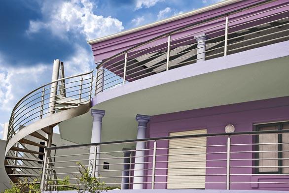 Výrobci moderních fasádních nátěrů nabízejí velkou škálu barev atónů, jejichž kombinací lze dosáhnout atraktivních výsledků (Primalex).
