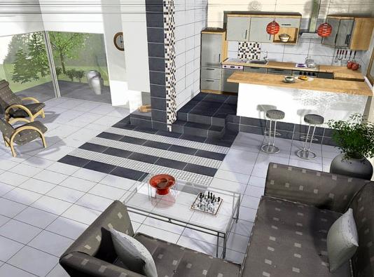 Ve druhé variantě podlahu pokrývá dlažba Sandstone Plus svýraznou barevnou kombinací bílé, světle šedé atmavě šedomodré (formát 30 x 60cm, cena 499 Kč/m²). Krbová stěna je zvýrazněna vertikálním pruhem pětibarevné mozaiky (set ovelikosti 30 x 30cm stojí 349Kč).