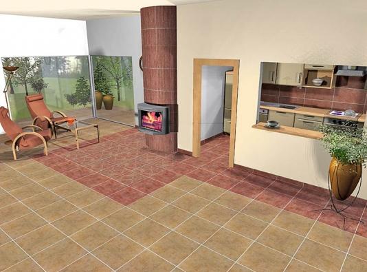 Ve třetí variantě designérka použila sérii Gobelino (formát 45 x 45cm, cena 499 Kč/m²). Podlahu kolem krbu zdobí dekor perského koberce.