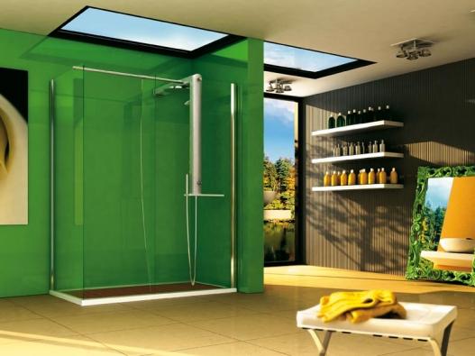Sprchový kout Start (JACUZZI) má středový ovládací panel s termostatickou baterií, hlavovou sprchu, kaskádu a ruční sprchu, vyrábí se v deseti provedeních od velikosti 120 x 80 až po 160 x 90 cm Double, na přání lze dno osadit teakovým roštem, cena podle provedení od 152 650 do 209 460 Kč, EIM UNIVERS.