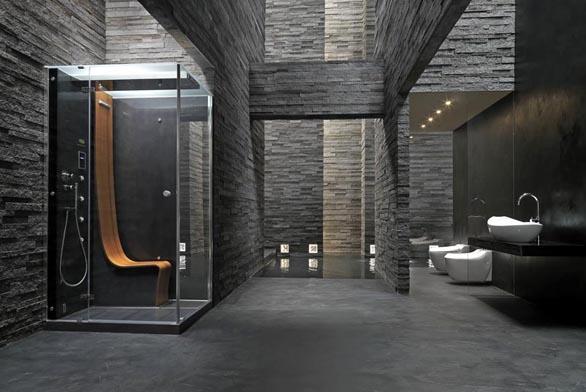 Minimalistická kabina sprchového boxu Omega v designu Pininfariny (JACUZZI) má uvnitř teakové sedátko, na němž si můžete užívat parní lázeň, sprchu, hydromasáž, vodopádový proud, vše se ovládá elektronicky, boxy se dodávají v provedení Black nebo White, cena limitované série 765 600 Kč, EIM UNIVERS.