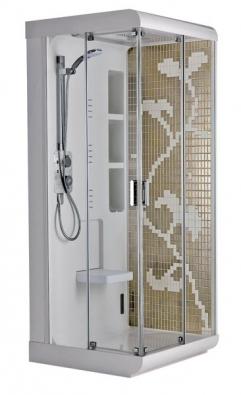 Sprchová kabina Tonax má hlavovou sprchu s dešťovým efektem, 60 bočních hydromasážních trysek, čtyřfunkční ruční sprchu, parní lázeň s aromaterapií, funkci chromoterapie, připojení pro MP3 přehrávač, termostatickou baterii, cena (bez DPH) 126 521 Kč, 3 verze boční výplně – matné sklo 10 429 Kč, zrcadlo 7 179 Kč, mozaika 34 136 Kč, IDEAL STANDARD.