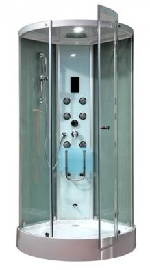 Masážní box Atlantic má strop vybavený vestavěnou sprchou, diodovým světlem a reproduktorem s napojeným USB vstupem, masážní panel má 6 multifunkčních trysek, termostatickou baterii, ruční sprchu, vyvíječ páry, sedátko, rozměry 100 x 100 cm, cena 66 480 Kč, TEIKO.