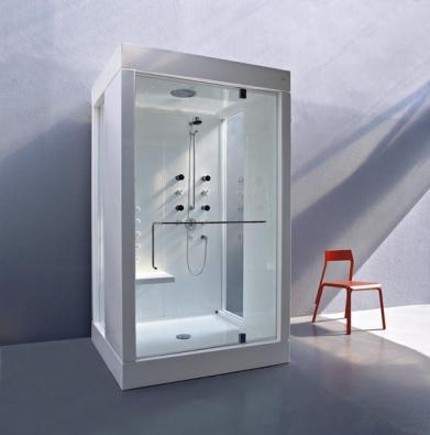 Sprchový kout Kosmic 1 (KOS), pivotové dveře z temperovaného skla o síle 1 cm, parní generátor, termostatická baterie, sprchová souprava s tyčí, hlavová dešťová sprcha, 5 masážních trysek, sedátko, rozměry 129 x 129 cm, cena (bez DPH) 394 200 Kč, STYLINE.