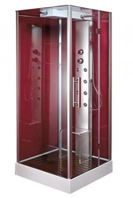 Čtvercový sprchový box Zafra se stropem, předními, bočními a zadními stěnami z čirého skla je doplněn hliníkovým masážním panelem s 8 tryskami, hlavovou sprchou, dřevěným roštem a plastovou židličkou, cena od 43 990 Kč, HOPA.