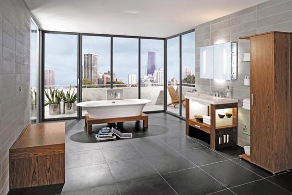 Nábytek City Life je určen pro velké prostory, kde vynikne okázalý vzhled jednotlivých zařizovacích předmětů. Součástí kolekce je i elegantní oválná samonosná vana z materiálu Quaril, rozměr 190 x 80 cm, váha 47 kg. Cena (bez DPH) 149 040 Kč.