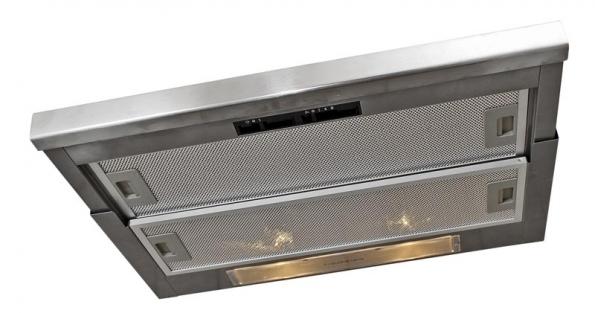 Součástí horní skříňky nad varným centrem je výsuvný odsavač par z nerezové oceli.