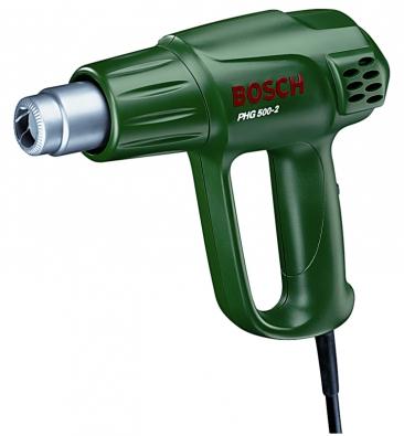 Hobbypistole BoschPHG 500-2 sobloukovým držadlem, příkonem 1600W advojí nastavitelnou teplotou 300/500 °C.  Cena 1249 Kč.