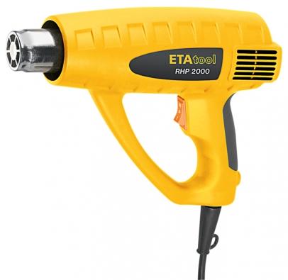 Horkovzdušná pistole ETA RHP2000 s5nástavci chrlí až 500 litrů vzduchu steplotou 300 nebo 500°C za minutu. Cena 799 Kč.