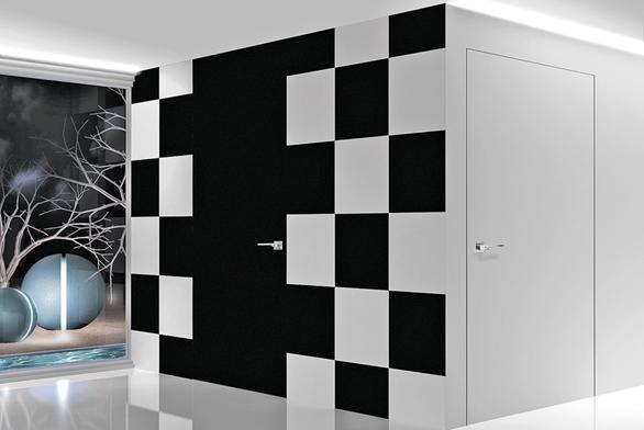Dveře Secret 1 zkolekce Secret, materiál bílé ačerné lakované dřevo, cena navyžádání (BARAUSSE).