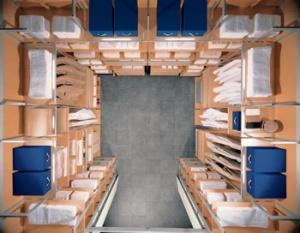 Šatna zakomponovaná do volného prostoru, dřevo, kov, plast, cena podle individuální specifikace klienta, HÜLSTA.