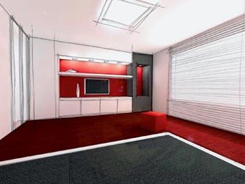 Ložnice s výraznými barevnými akcenty červených detailů má velmi mladistvý charakter.