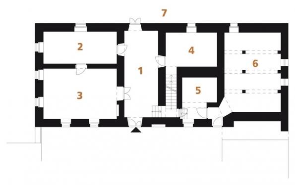Původní stav | půdorys PŘÍZEMÍ: 1) vstupní chodba, 2+3) pokoj, 4) síň, 5) komora, 6) sklep, 7) dvůr.