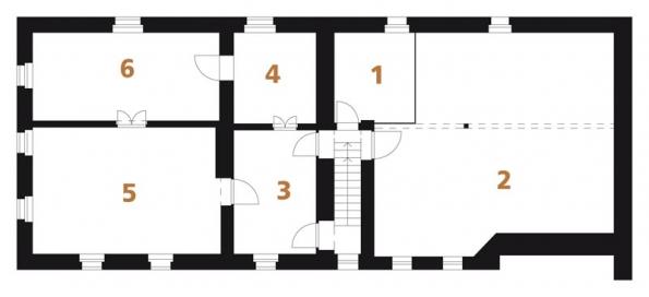Původní stav | Půdorys PATRO: 1) komora, 2) půdní prostor, 3) předsíň, 4+5+6) pokoj.