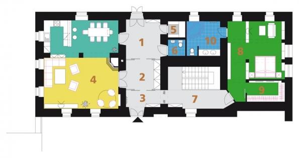 Návrh | Půdorys PŘÍZEMÍ: 1) hala, 2) šatna, 3) zádvěří, 4) obývací pokoj + kuchyň, 5) botník, 6) WC, 7) chodba, 8) ložnice rodičů, 9) šatna, 10) koupelna + WC.