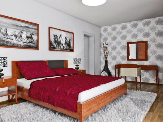 Klasická verze je zařízena nábytkem z řady Solitaire v dýze ořech antik (vyrábí Selva), atmosféru dokresluje tapeta s výrazným vzorem.