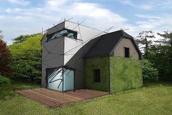 Novou část domu prosvětlují velké rohové prosklené plochy. Obytný prostor pokračuje na zahradě dřevěnou palubou.
