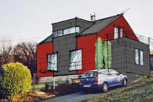 Pohled severní - návrh: zjednodušením střešních prvků získal dům modernější výraz. Architektonickou dominantu tvoří arkýř vystupující v ose hmoty domu.