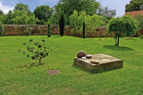 Efektní seskupení dřevin doplňují také tvarově kontrastní kameny.